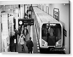 passengers on ubahn train platform as train leaves Friedrichstrasse u-bahn station Berlin Germany Acrylic Print