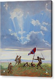 Passing On The Blood Stained Banner Acrylic Print by Sandra Harris