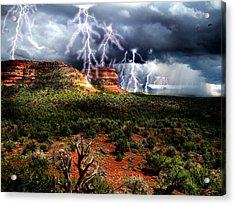 Passing Storm Near Sedona Arizona Acrylic Print by Ric Soulen