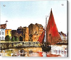Passing The Spanish Arch Galway Acrylic Print