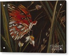 Passion Butterfly - Gulf Fritillary Acrylic Print by Mary Hubley