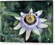 Acrylic Print featuring the digital art Passion Flower 2 by Helene U Taylor