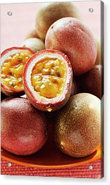 Passion Fruits (purple Granadilla), One Halved Acrylic Print