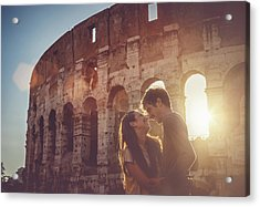 Passionate Kiss In Front Of The Coliseum Acrylic Print by Piola666