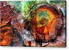Acrylic Print featuring the mixed media Past Or Future? by Ally  White