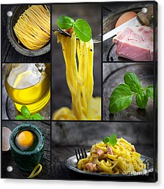 Pasta Carbonara Collage Acrylic Print by Mythja  Photography