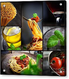 Pasta Collage Acrylic Print by Mythja  Photography