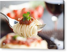 Pasta With Ingredients Acrylic Print by Mythja  Photography