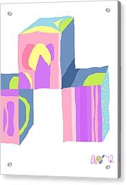 Pastel Cubes Acrylic Print by Anita Dale Livaditis