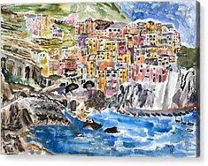 Pastel Patchwork Village Acrylic Print