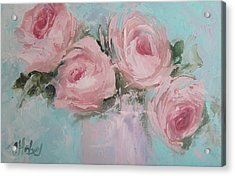 Pastel Pink Roses Painting Acrylic Print by Chris Hobel