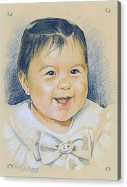 Pastel Portrait Of A Girl In A White Dress. Commission. Acrylic Print