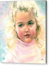 Pastel Portrait Of An Angelic Girl Acrylic Print