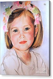 Pastel Portrait Of Girl With Flowers In Her Hair Acrylic Print