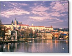 Pastel Prague Morning Acrylic Print by Joan Carroll