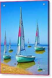 Pastel Sailboats Acrylic Print