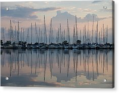 Pastel Sailboats Reflections At Dusk Acrylic Print