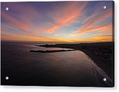 Pastel Sunset Above Santa Cruz Wharf Acrylic Print by David Levy