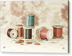 Pastel Threads And Buttons Acrylic Print by Sofia Walker