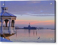 Pastel Uss Lexington Acrylic Print by Leticia Latocki