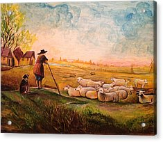 Acrylic Print featuring the painting Pastoral Landscape by Egidio Graziani