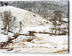 Pasture Hills And Snow Acrylic Print