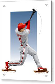 Pat The Bat Burrell Acrylic Print by Scott Weigner
