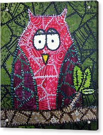 Patchwork Owl - Red Acrylic Print