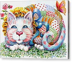 Acrylic Print featuring the drawing Patchwork Patty Catty by Dee Davis