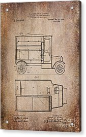 Patent Art Refrigerator Truck I Antique Acrylic Print by Lesa Fine