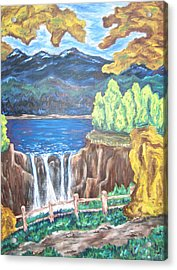 Acrylic Print featuring the painting Path By The Falls by Cheryl Pettigrew