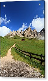 Acrylic Print featuring the photograph path in Gardena pass by Antonio Scarpi