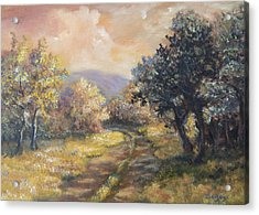 Acrylic Print featuring the painting Path In The Woods by Katalin Luczay