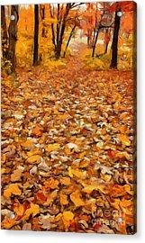 Path Of Fallen Leaves Acrylic Print