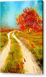 Path To Change- Autumn Impressionist Painting Acrylic Print by Lourry Legarde