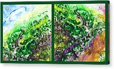 Path To The Unknown Diptych In Green Acrylic Print by Irina Sztukowski