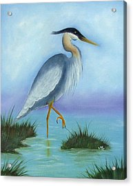 Patience Blue Heron Acrylic Print by Mary Gaines