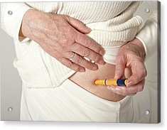 Patient Using An Autoinjector Acrylic Print by Lea Paterson