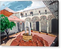 Acrylic Print featuring the painting Patio Colonial by Lazaro Hurtado
