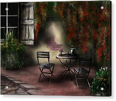 Patio Garden Acrylic Print by Ron Grafe
