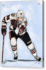 Patrick Kane Of The Chicago Blackhawks Acrylic Print by Dave Olsen