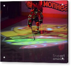 Patrick Kane Takes The Ice Acrylic Print by Melissa Goodrich