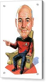 Patrick Stewart As Jean-luc Picard Acrylic Print by Art