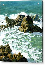 Patricks Point Rocks Acrylic Print by Alice Leggett