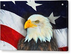 Patriotic American Flag And Eagle Acrylic Print