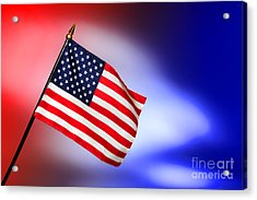 Patriotic American Flag Acrylic Print by Olivier Le Queinec