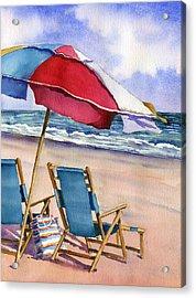 Patriotic Beach Umbrellas Acrylic Print by Beth Kantor