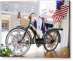 Patriotic Bicycle Acrylic Print by Cindy Archbell