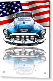 Patriotic Buick Riviera 1953 Acrylic Print by Gill Billington