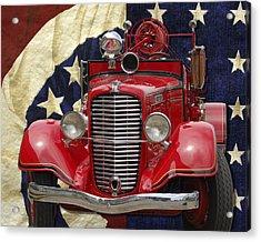Patriotic Fire Truck Acrylic Print